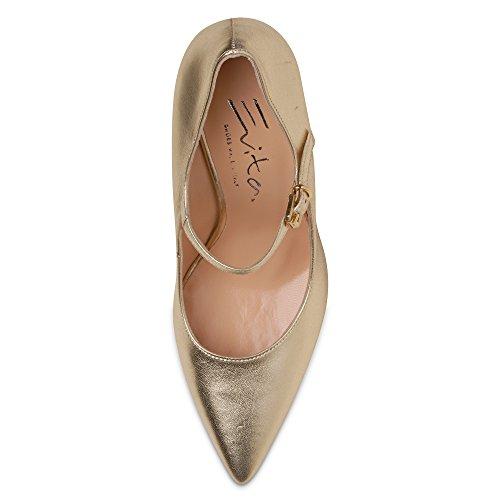 dorado vestir de de Shoes Zapatos para Piel Evita mujer Dorado wxqzZCq