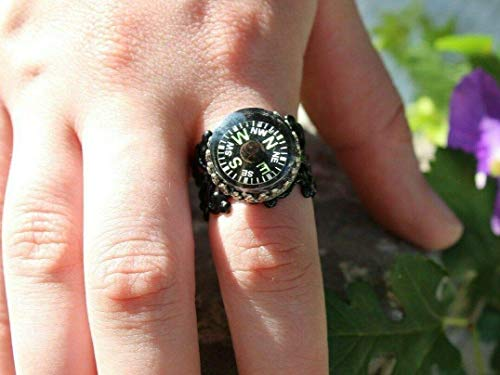 Compass Ring, Glow Crowned Compass, Filigree Ring,