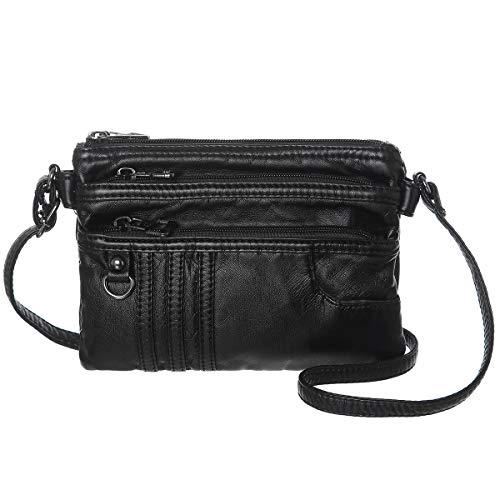 Women Treble Pockets Small Crossbody Bag Cell Phone Purse Wallet(Black)