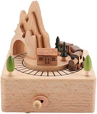 Caja de música de madera, Hermoso tren pequeño Cajas musicales de madera Artesanías de madera clásicas Festival de cumpleaños Regalos de Navidad Decoración del hogar: Amazon.es: Hogar