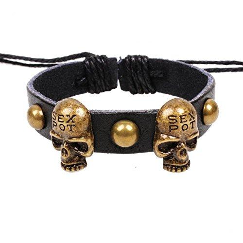 Shiny Moon 2015 New Handmade Fashion Skull Charms Infinity Bracelet Brown Black Woven Leather Punk Braclet