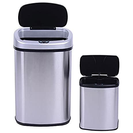 Review Brushed Motion Sensor Bin Trash Can Set 2 Touch Free Operation Automatic Stainless Steel Modern - Elegant motion sensor kitchen trash can Contemporary
