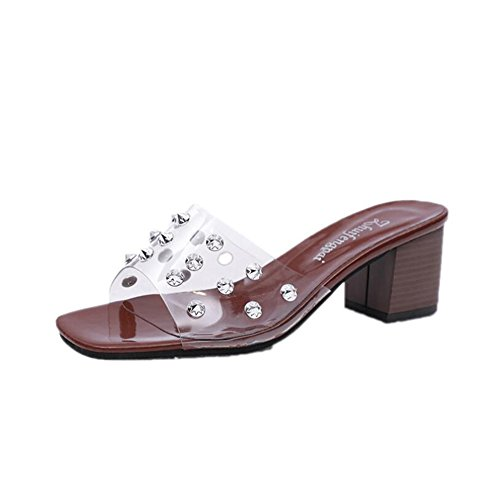 Chunky Sandals Sandals Evening Color Dress Shoes Size Summer Women's Rivets 39 Transparent Heel Party PVC amp; B Club YxXw4dB