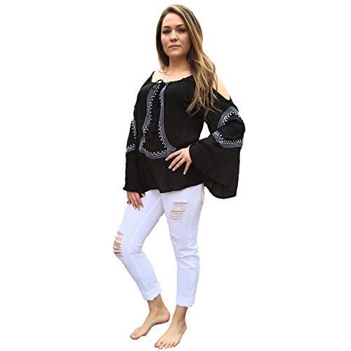 0616283630851b Elan Cold Shoulder Black Peasant Top One Size new - verslui ...