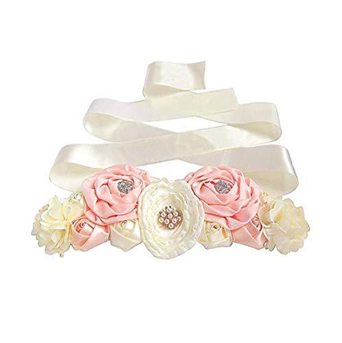 Floral Fall Flowers Maternity Sash for Wedding Sashes Romantic Flowers Belt SH-02 (Ivory)
