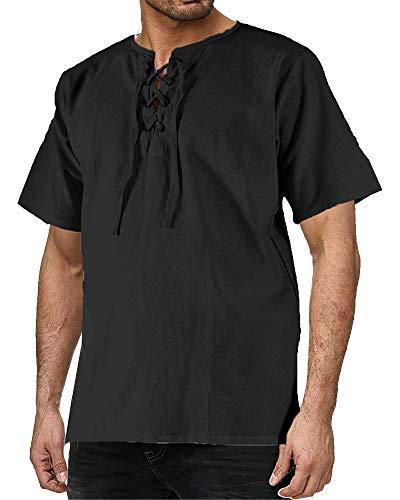Mens Medieval Pirate Shirt Viking Renaissance Lace up Halloween MercenaryScottish Jacobite Ghillie Tops -