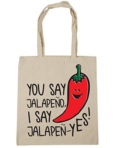 HippoWarehouse YOU SAY Jalapeño digo jalapeñ-yes Tote Compras Bolsa de playa 42cm x38cm, 10litros Natural