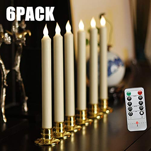 NONNO&ZGF 10 inch Flameless Battery Powered Ivory Wax Taper Windows Candles with Remote and Timer & Candlestick, Warm White Flickering Light LED, Gold candlesticks Set of 6