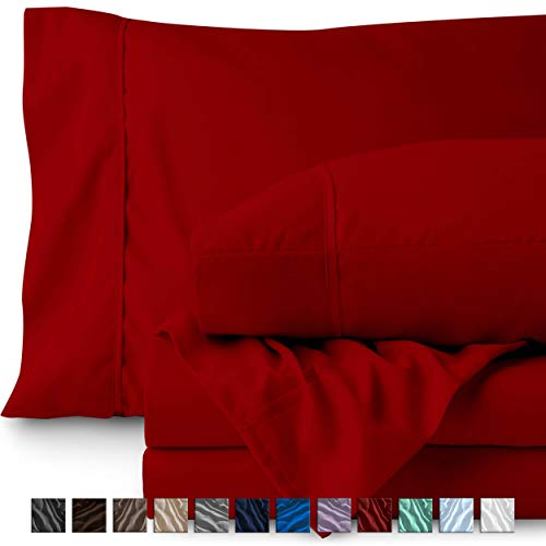 Bare Home Queen Sheet Set - 1800 Ultra-Soft Microfiber Bed Sheets - Double Brushed Breathable Bedding - Hypoallergenic – Wrinkle Resistant - Deep Pocket (Queen, Red) - Red Big Sheet