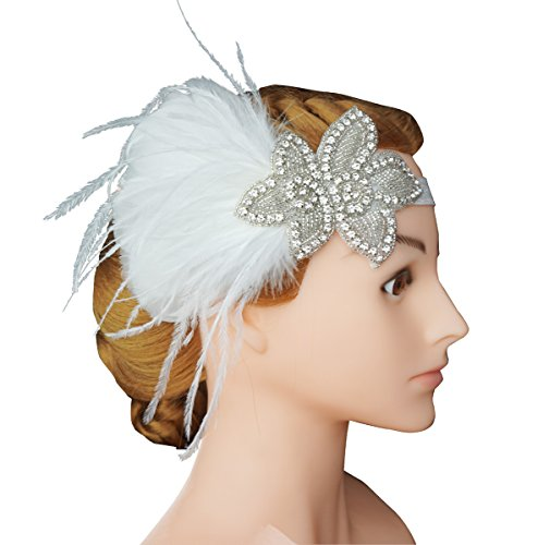 White Mini Top Hat (Blank K Bridal Wedding Feather Headband Flapper 1920's Headwear Derby Party Mini Hat (White))