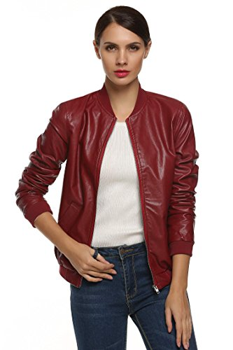 TelDen Leather Blouse for Women Blouse for Women Casual Long Sleeves Raincoat Women Travel Faux Leather by TelDen