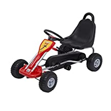 HOMCOM Pedal Go Kart Kids Children Racing Wheel Rider w/ Hand Brake Red Black