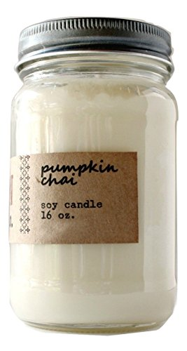 Pumpkin Chai Spice Scented Soy Candle - 16 Ounce (Rustic Country Candle Wrap)