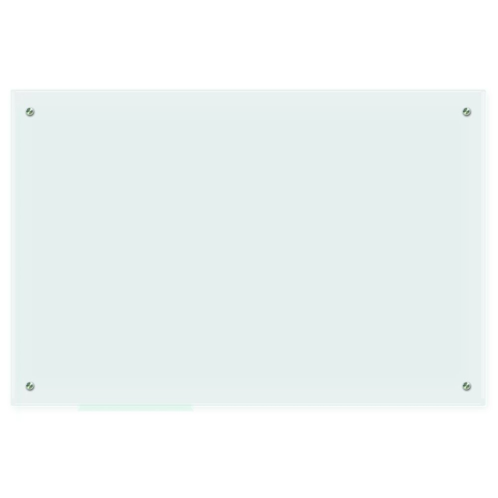 Lockways Glass Dry Erase Board – Frosted Glass White Board/Frameless Whiteboard 36 x 24, Wall-Mounted, Clear Marker Tray, for Office, Home, School