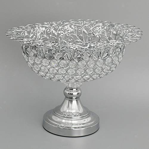 - Crystal Bling Wedding Dining Table Decoration Fruit Tray Candy Dish Bowl  Color - Oval Silver 