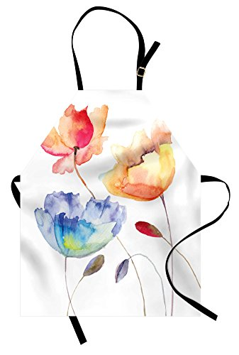 Ambesonne Watercolor Flower Apron, Summer Flowers in Retro Style Painting Effect Nature is Art, Unisex Kitchen Bib with Adjustable Neck for Cooking Gardening, Adult Size, Pink Yellow