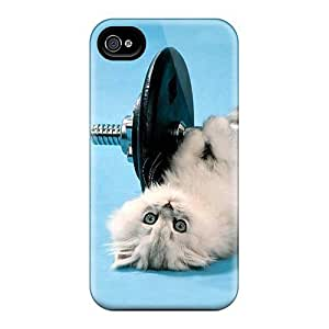 High Quality Jeffrehing Funny Kitten Lifting Weights Skin Case Cover Specially Designed For Iphone - 4/4s