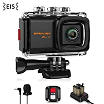 Apexcam 4K 20MP WiFi Action Camera EIS Ultra HD Underwater Waterproof Sports Camera 40M Camcorders External Mic 170°Wide-Angle 2.0''LCD 2.4G Wireless Remote 2 Rechargeable Batteries and Accessories Kits