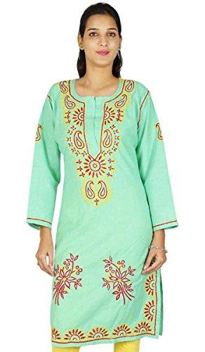 Chikan Mujeres bordado étnico Kurti india de Bollywood vestido de algodón regalo para ella Mar verde y amarillo