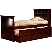 Twin Cherry Captains Bookcase Bed with Storage 719925