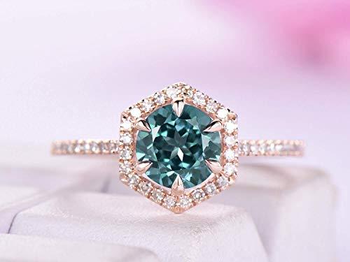 Round Alexandrite Ring Diamond Hexagon Halo 14K Rose Gold 7mm, ()