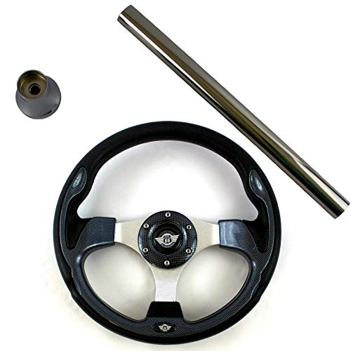 Carts Gone Wild Yamaha G29 Drive Golf Cart Steering Wheel Kit, Classic Carbon Fiber ()