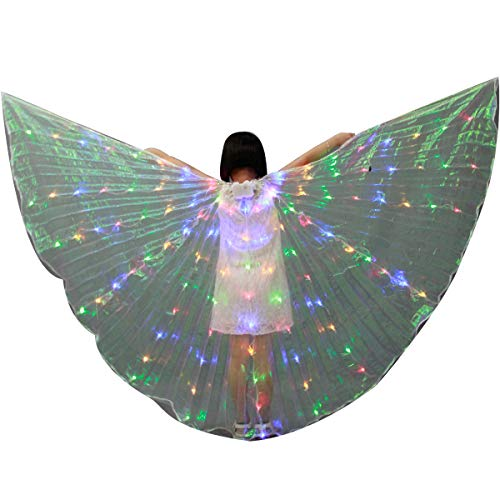 LED Isis Wings - Belly Dance Light Up Wings Party Club Wear with Flexible Sticks for Women/Girls (Child-Multicolor)]()
