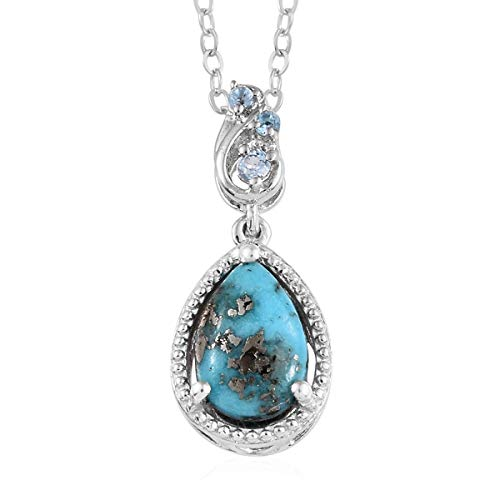 Persian Turquoise Blue Topaz Pendant Necklace for Women Jewelry 20