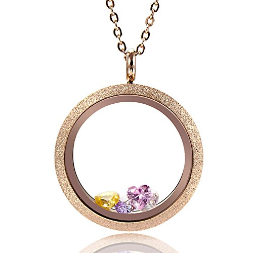 (EVERLEAD Round Rose Gold Parkle Glass Floating Locket 316L Stainless Steel Newest 25mm 30mm Including Chains and Colorfull Zircon (Locket Diameter: 30mm))