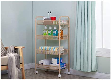 棚、キッチン用トロリー、寝室のバスルーム、車輪付き、取り外し可能な収納棚、フロア収納 (Color : Gold, Size : Five floors)