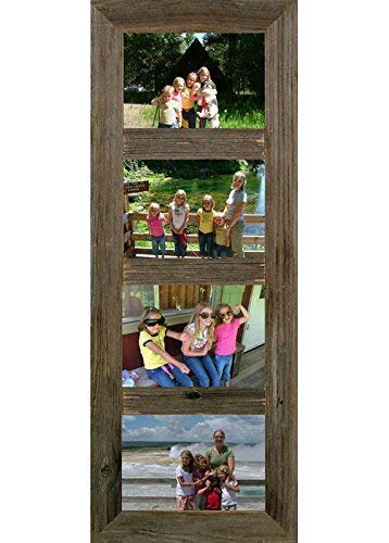 ABW Decor 4 Opening 5x7 Barnwood Multi Panel Collage Picture Frame, Multiple Color Choices.