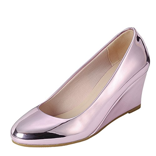 Forever Womens Round Closed Toe Metallic Slide Slip On Med L