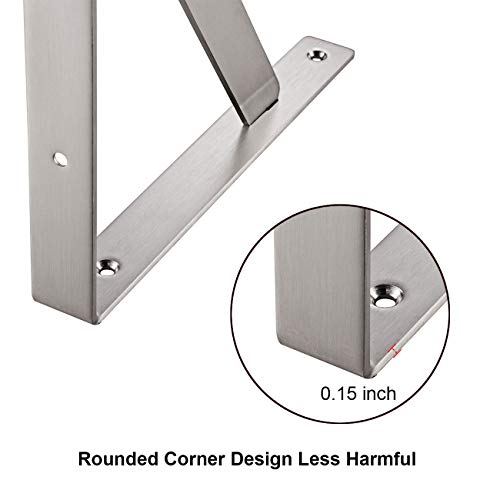"""YUMORE Shelf Bracket 14"""", Max Load: 440lb Heavy Duty Stainless Steel Solid Shelf Support Corner Brace Joint Right Angle Bracket, Pack of 2 by YUMORE (Image #6)"""