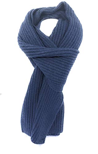 Scarf Cashmere Ribbed (Cashmere Ribbed Knit Scarf (Blue))