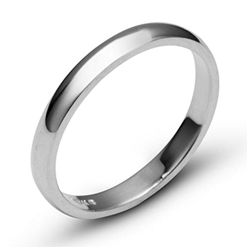 10k White Solid Gold 3mm Comfort Fit Domed Plain Men's Women's Wedding Band Size 9 ()