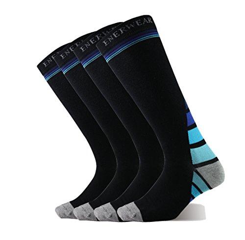 Enerwear 2P Pack Men's Cotton Blended Compression Socks (10-13, Black-Blue Stripe) Blended Stripe