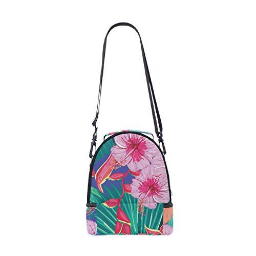 Imprimé avec isotherme Cooler Boîte bandoulière à floral Pincnic Tote Sac à réglable pour lunch Folpply Tropical l'école p5fCwqq