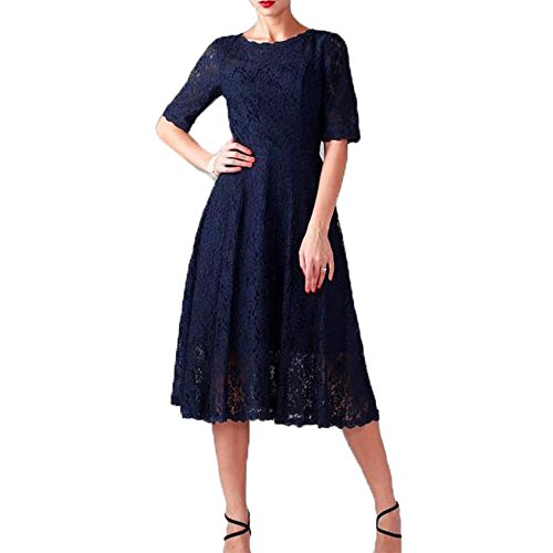 AbaoWedding Women's Short Sleeve Tea Length Full Lace Mother of the Bride Dresses