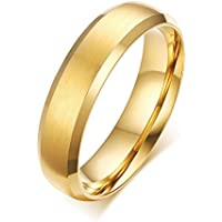 Zealmer Classic Gold Band Ring Titanium Steel Ring Plain Wedding Ring Matte Finished for Men