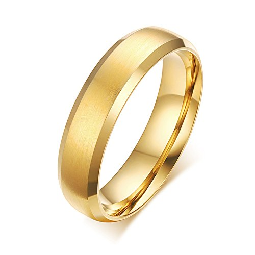Zealmer Classic Gold Band Ring for Men Plain Wedding Band Ring Polished Charm Matte Finished 9