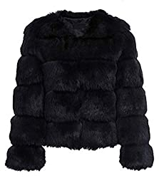 Chartou Women S Vintage Winter Collarless Long Sleeves Faux Fur Fluffy Short Coat Jackets Black X Large