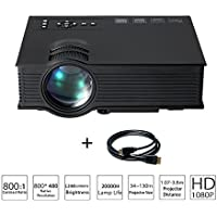 Mini Portable LED Projector Multimedia 1080P Full HD Wifi Wireless Home Theater, 1200lumens AV A/V USB & SD HDMI VGA Projector for Video Game Movie Cinema