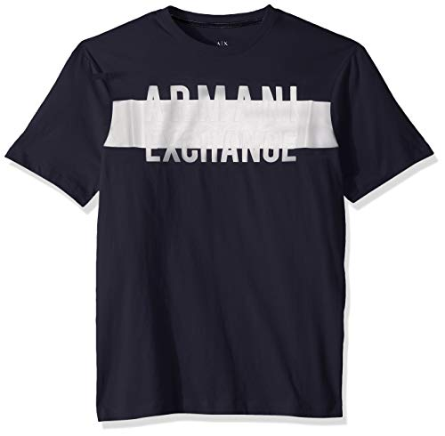 Exchange Short Sleeve T-shirt - A|X Armani Exchange Men's Short Sleeve Crew Neck Logo T-Shirt, Dress Blue, M