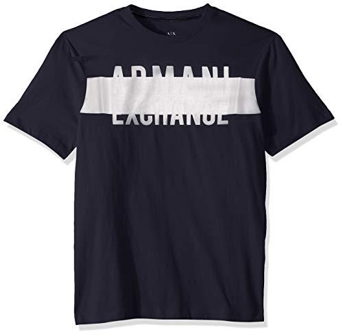 Shirts Dress Armani - A|X Armani Exchange Men's Short Sleeve Crew Neck Logo T-Shirt, Dress Blue, S