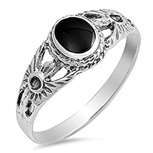 Sterling Silver Stunning Women's Simulated Black Onyx Flower Ring (Sizes 5-10)