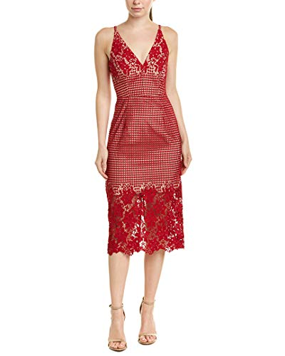 Dress the Population Women's Aurora Lace Plunging Spaghetti Strap Midi Sheath Dress, Garnet, m