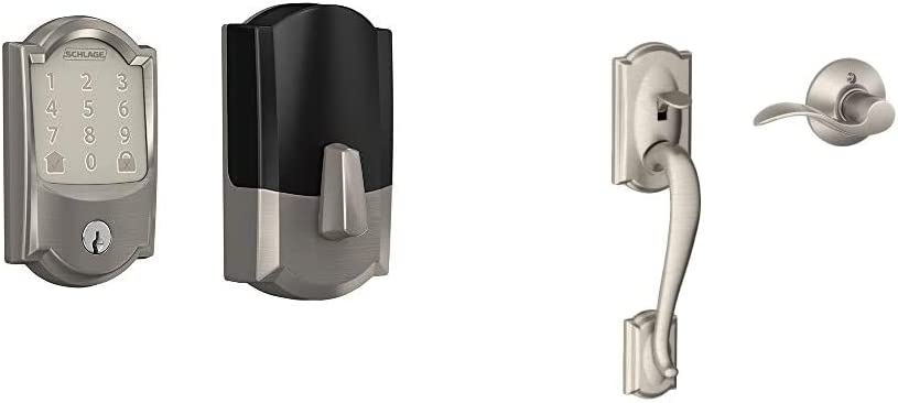 Schlage Lock Company BE489WB CAM 619 Deadbolt with Camelot Trim in Satin Nickel, Lock & Camelot Front Entry Handle Accent Right-Handed Interior Lever (Satin Nickel) FE285 CAM 619 Acc RH