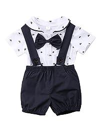 annvivi Baby Boy verano algodón pajarita caballero manga corta pajarita Pelele + juego de tirantes pantalón corto.