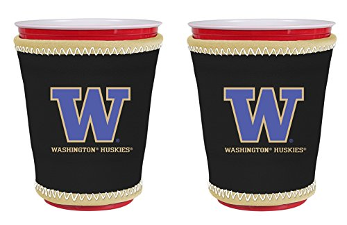 Washington Huskies Tailgate Cooler (NCAA College Team Logo New Drink Glass Cup Insulated Kup Holder 2-Pack (Washington Huskies))