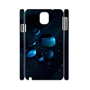 3D Samsung Galaxy Note 3 Case,Macro Water Drops Dark Blue Grass Hard Shell Back Case for White Samsung Galaxy Note 3